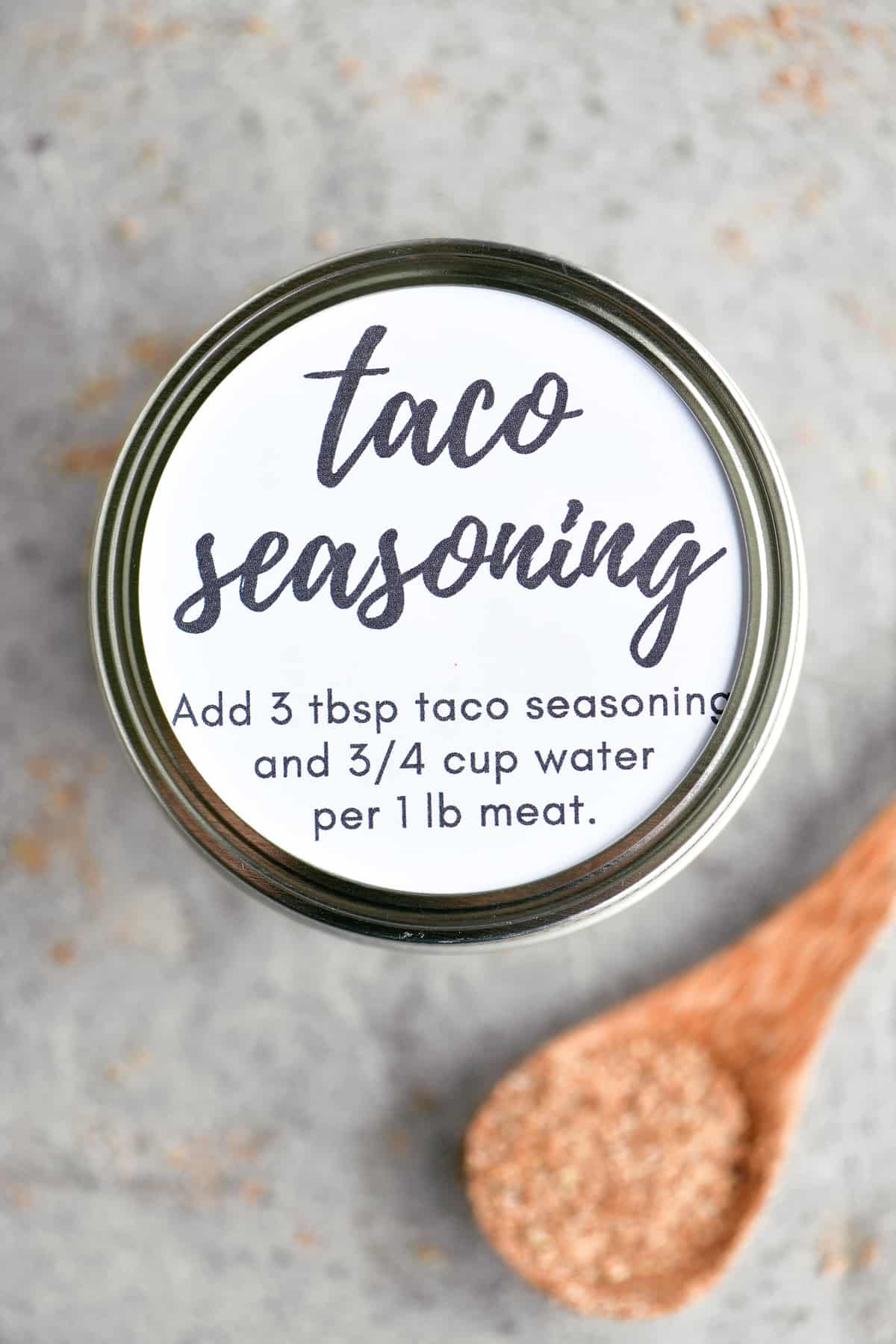 taco seasoning in a jar with label