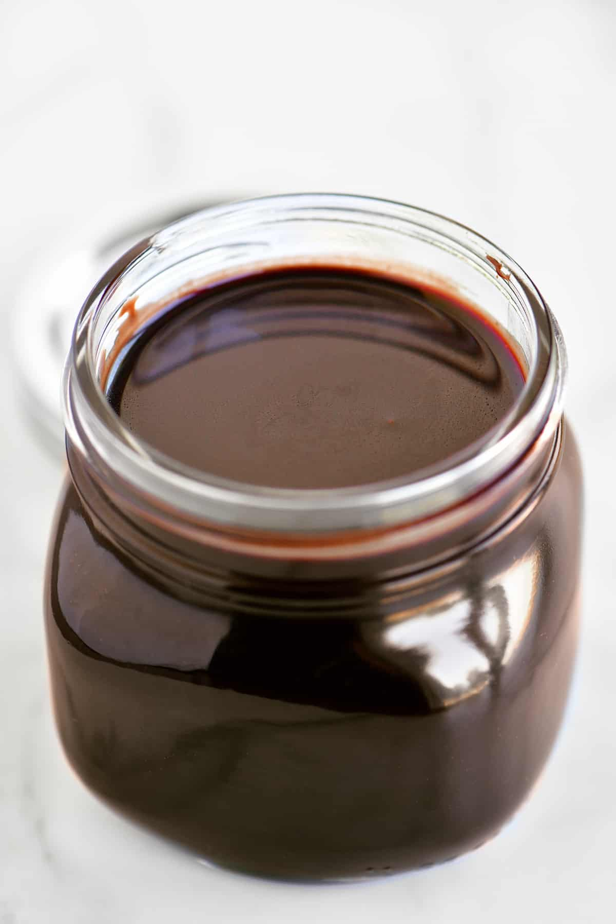 a jar of rich yummy chocolate sauce