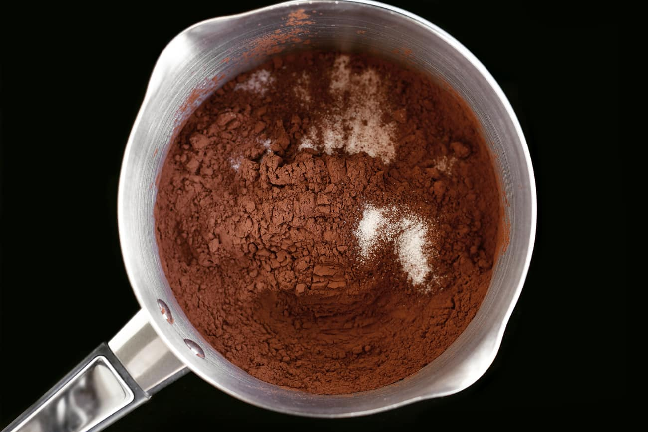 chocolate sauce ingredients in a saucepan