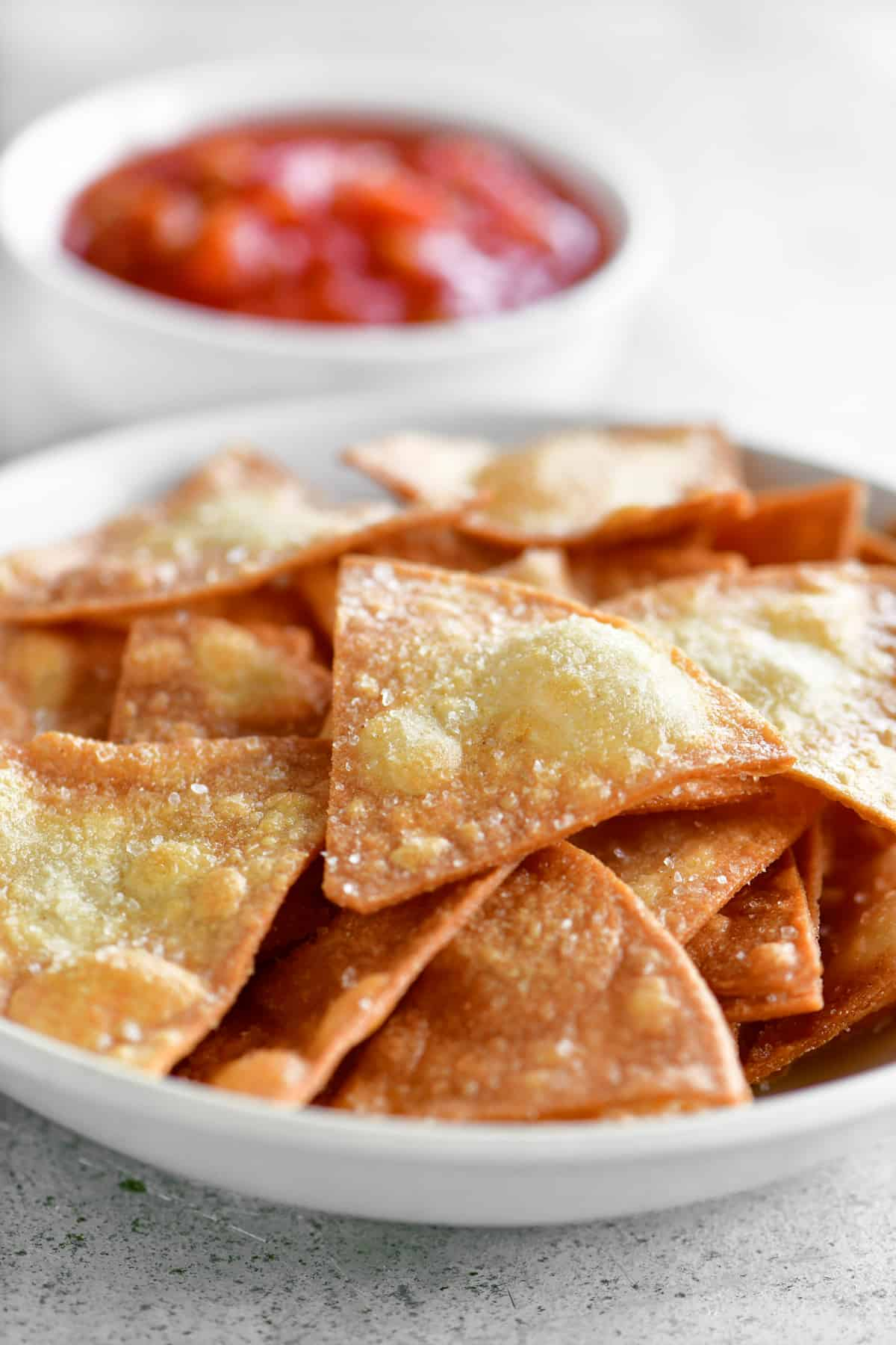 corn tortilla chips in a bowl with salsa
