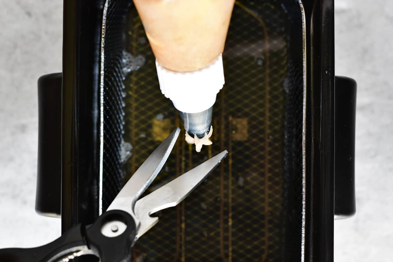 use kitchen shears to cut dough