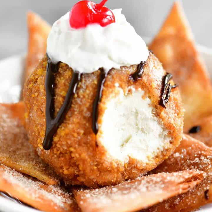 fried ice cream drizzled in chocolate sauce