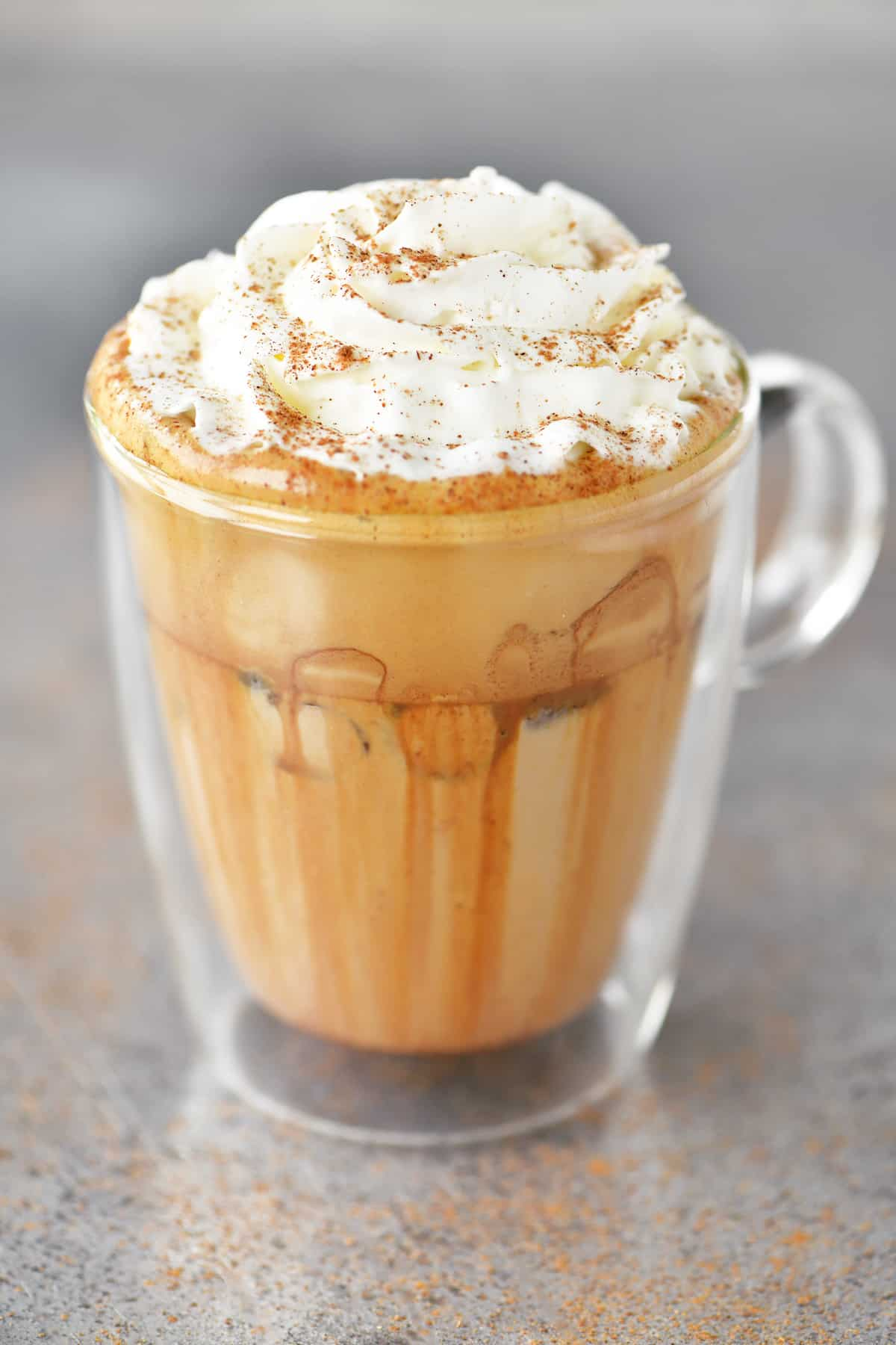 pumpkin spice whipped coffee topped with whipped cream