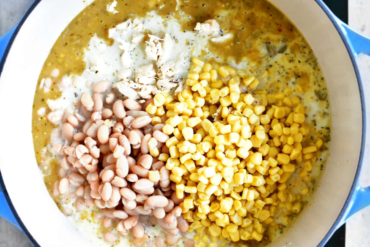 add corn and white beans