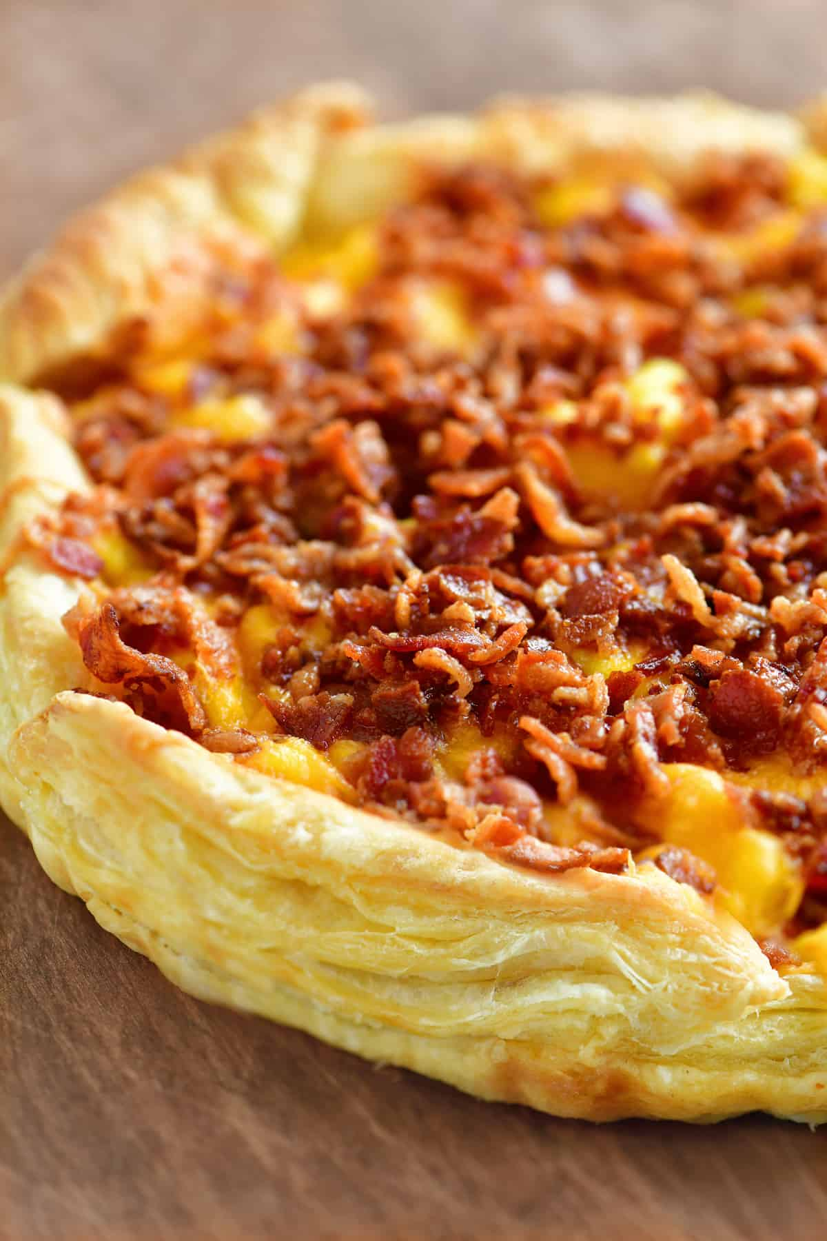 a close-up view of a delicious breakfast pizza