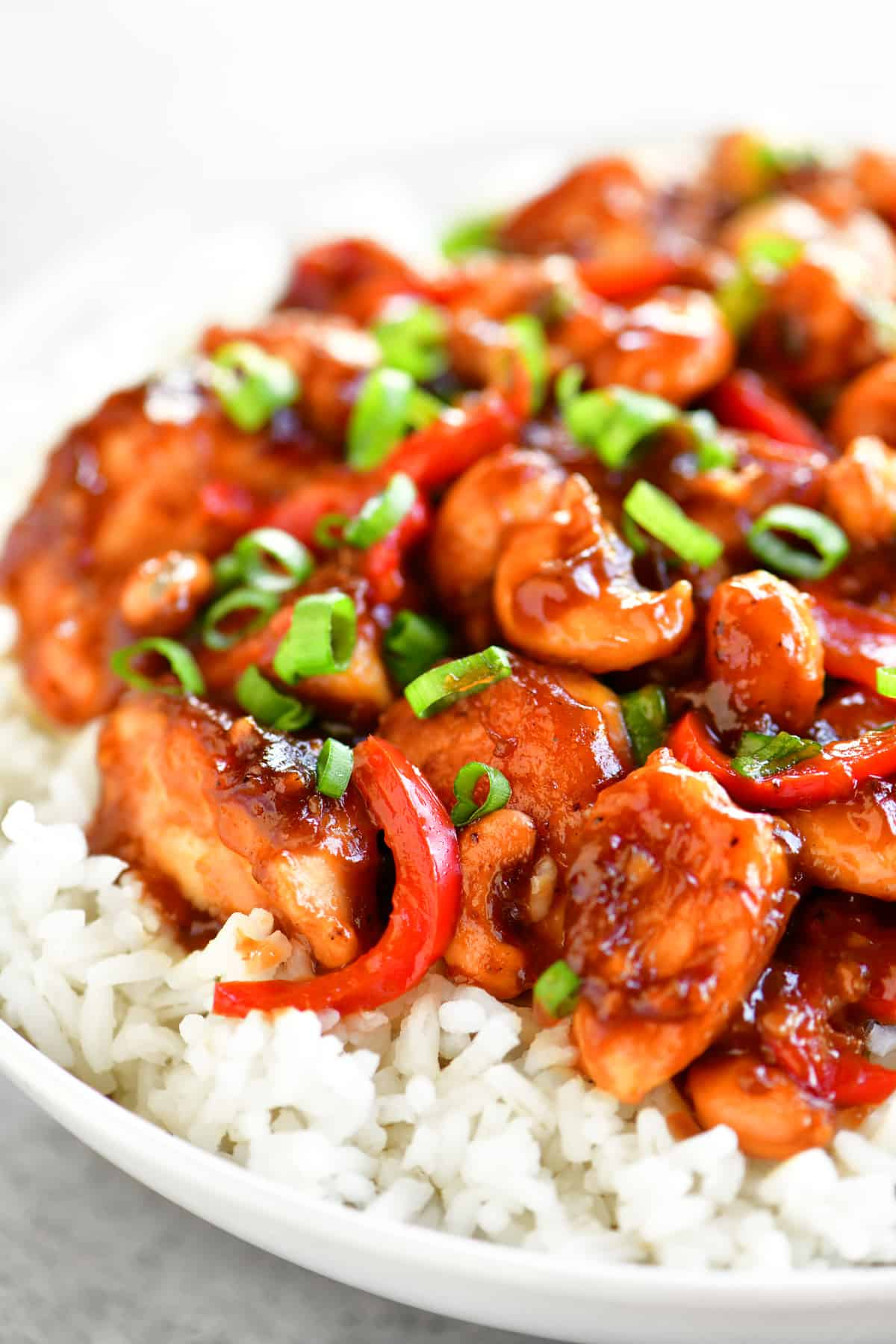 side view of cashew chicken on rice in a bowl