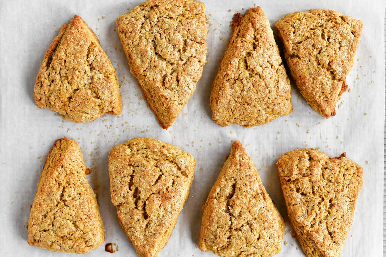 baked scones on a piece of parchment paper