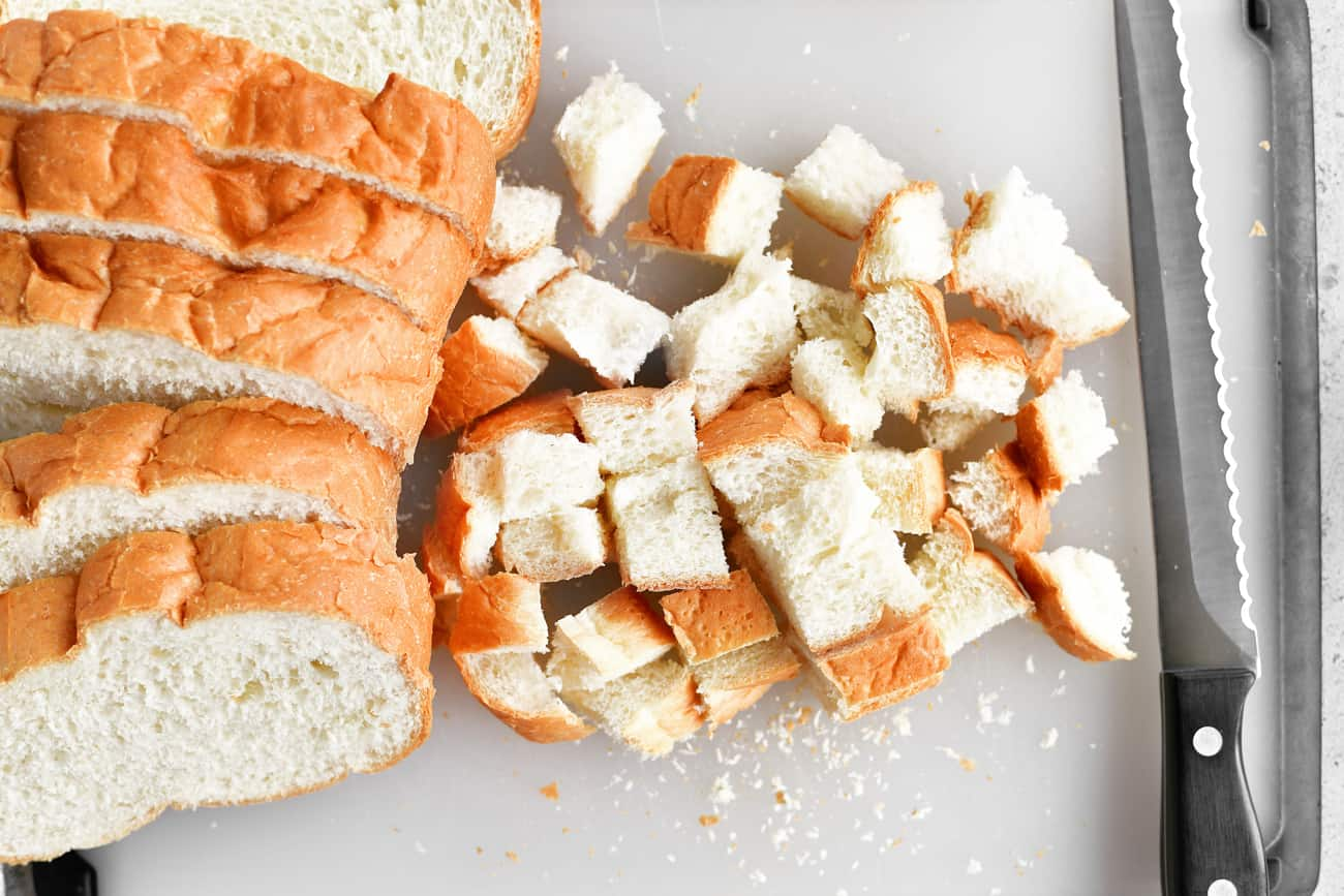 cutting bread into small cubes