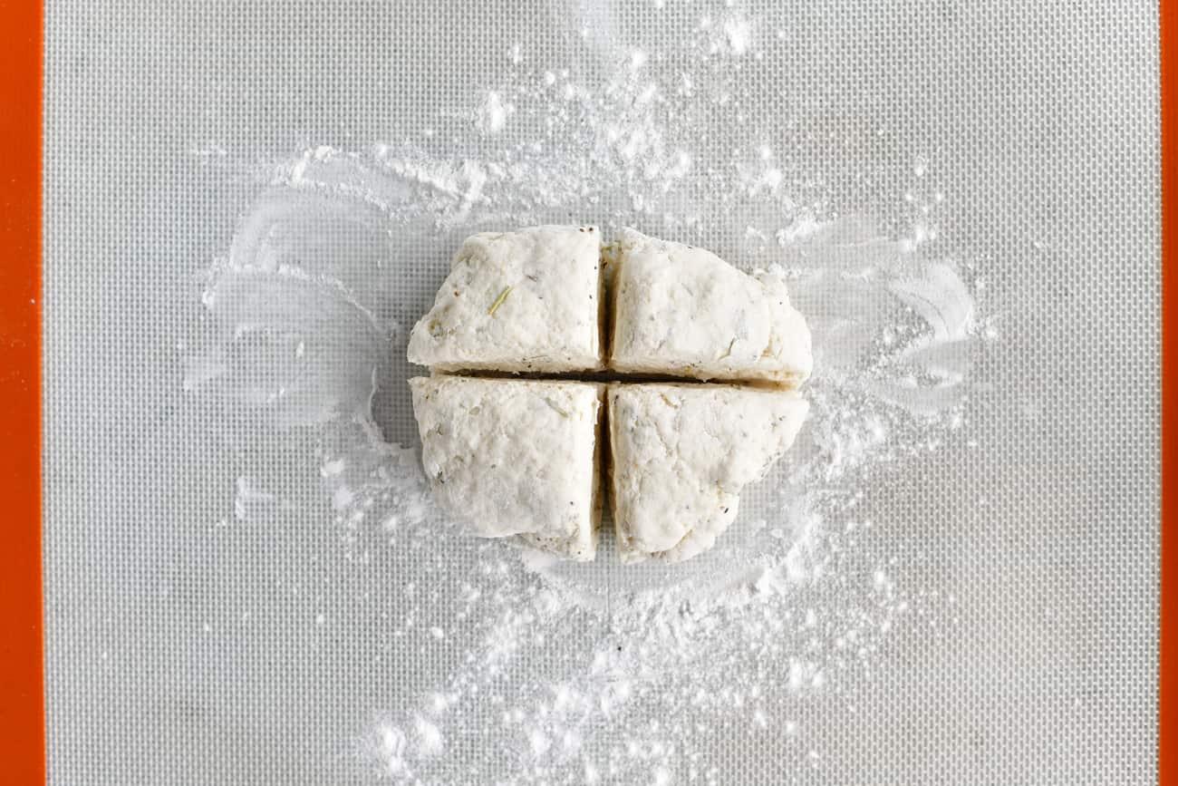 cut the dough into equal quadrants