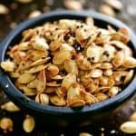 everything bagel seasoned pumpkin seeds in a bowl