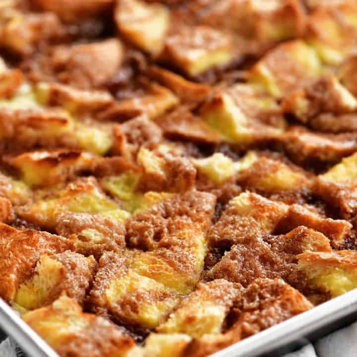 golden french toast casserole in a pan