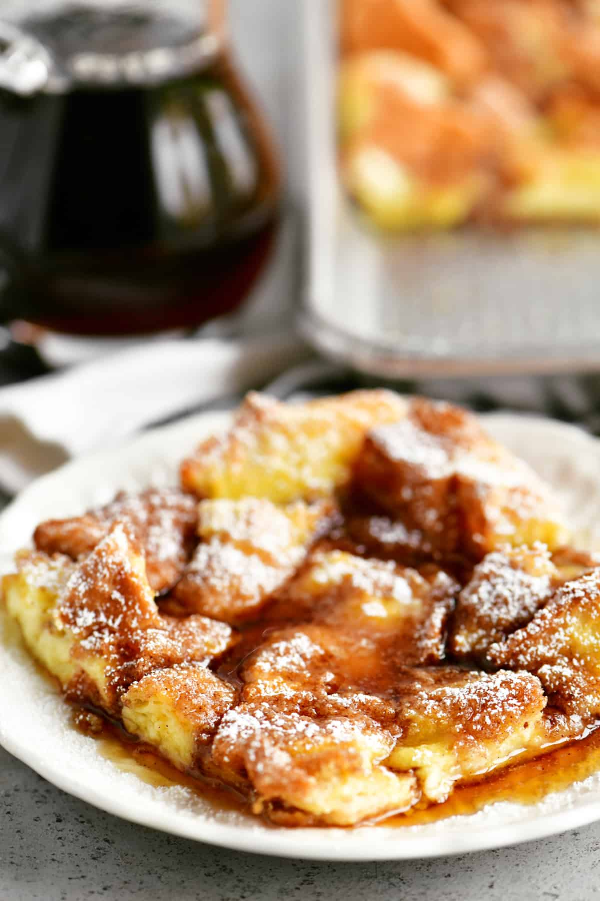 delicious french toast casserole with maple syrup