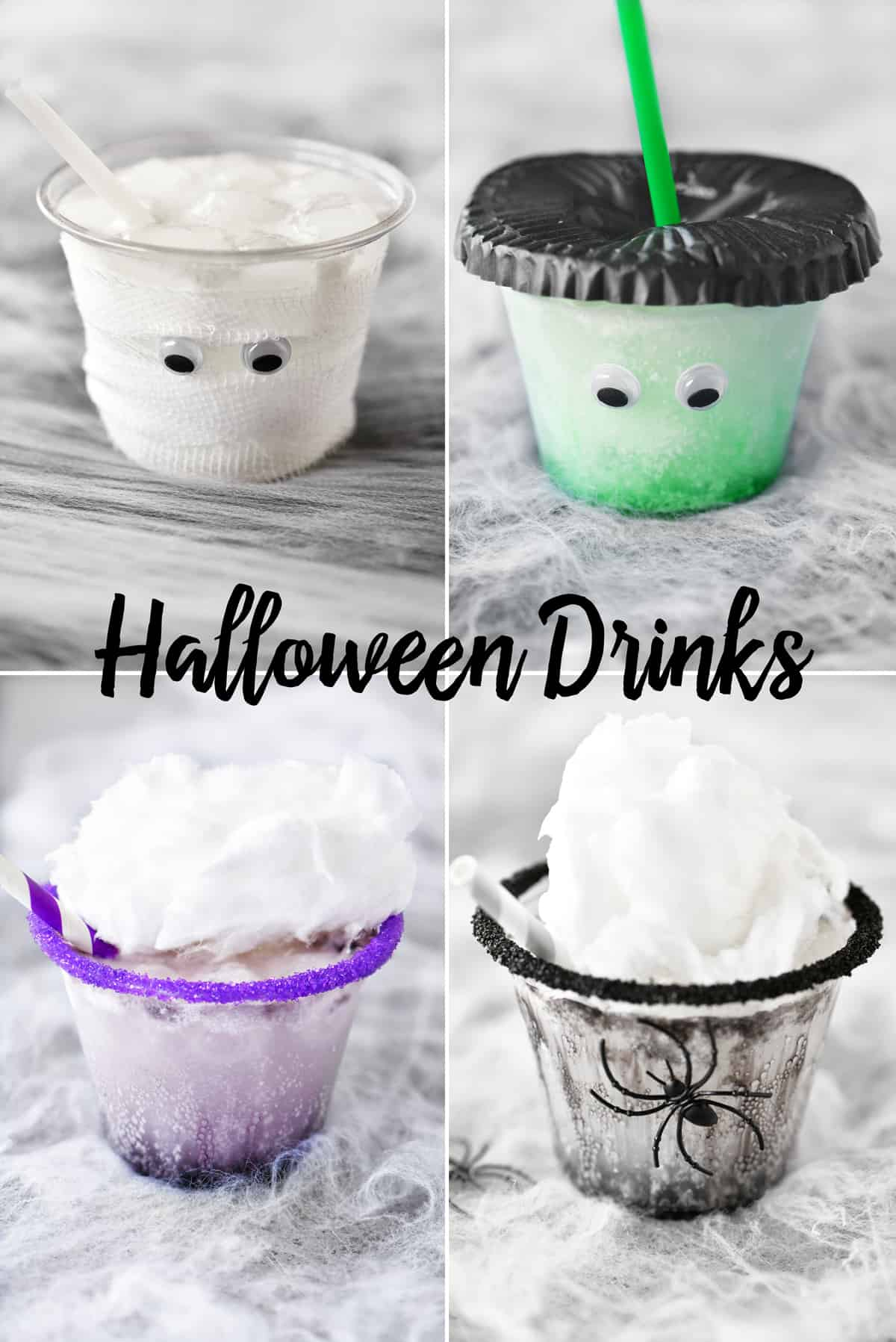 collage of Halloween drinks