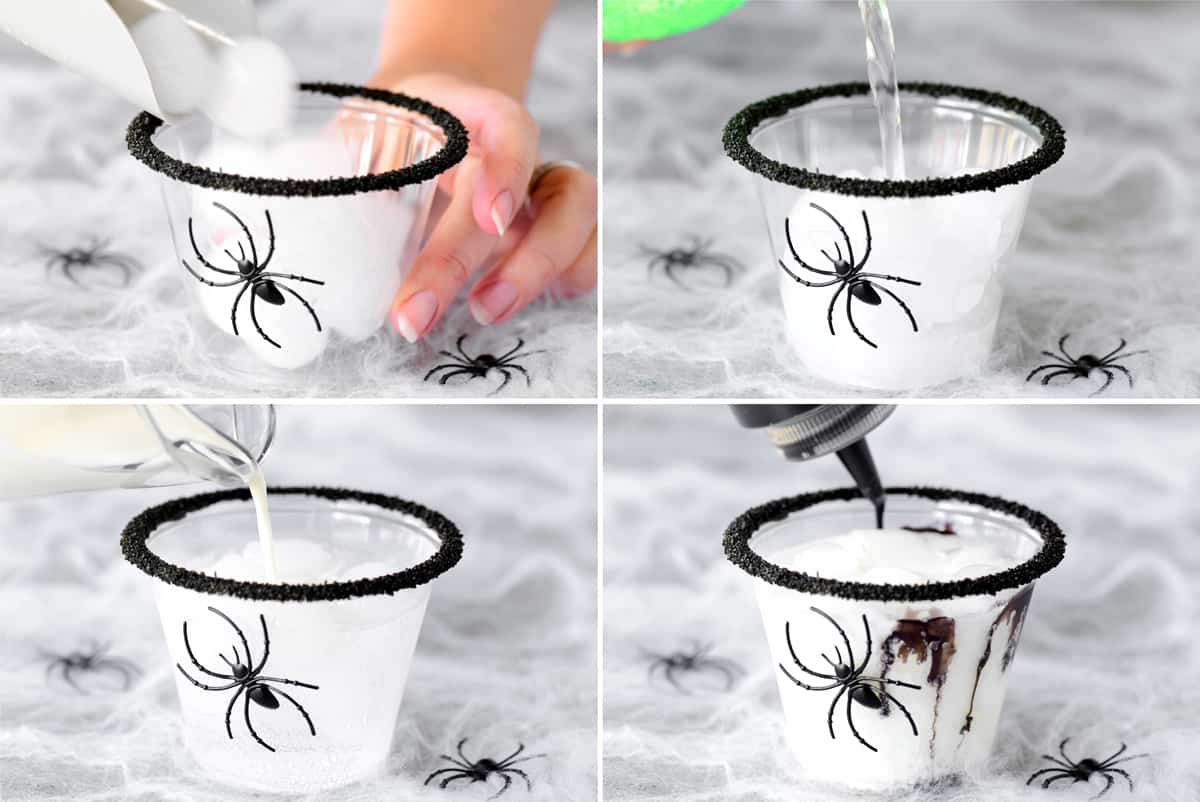 collage of making a halloween drink