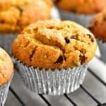 a closeup of pumpkin muffins on a cooling rack