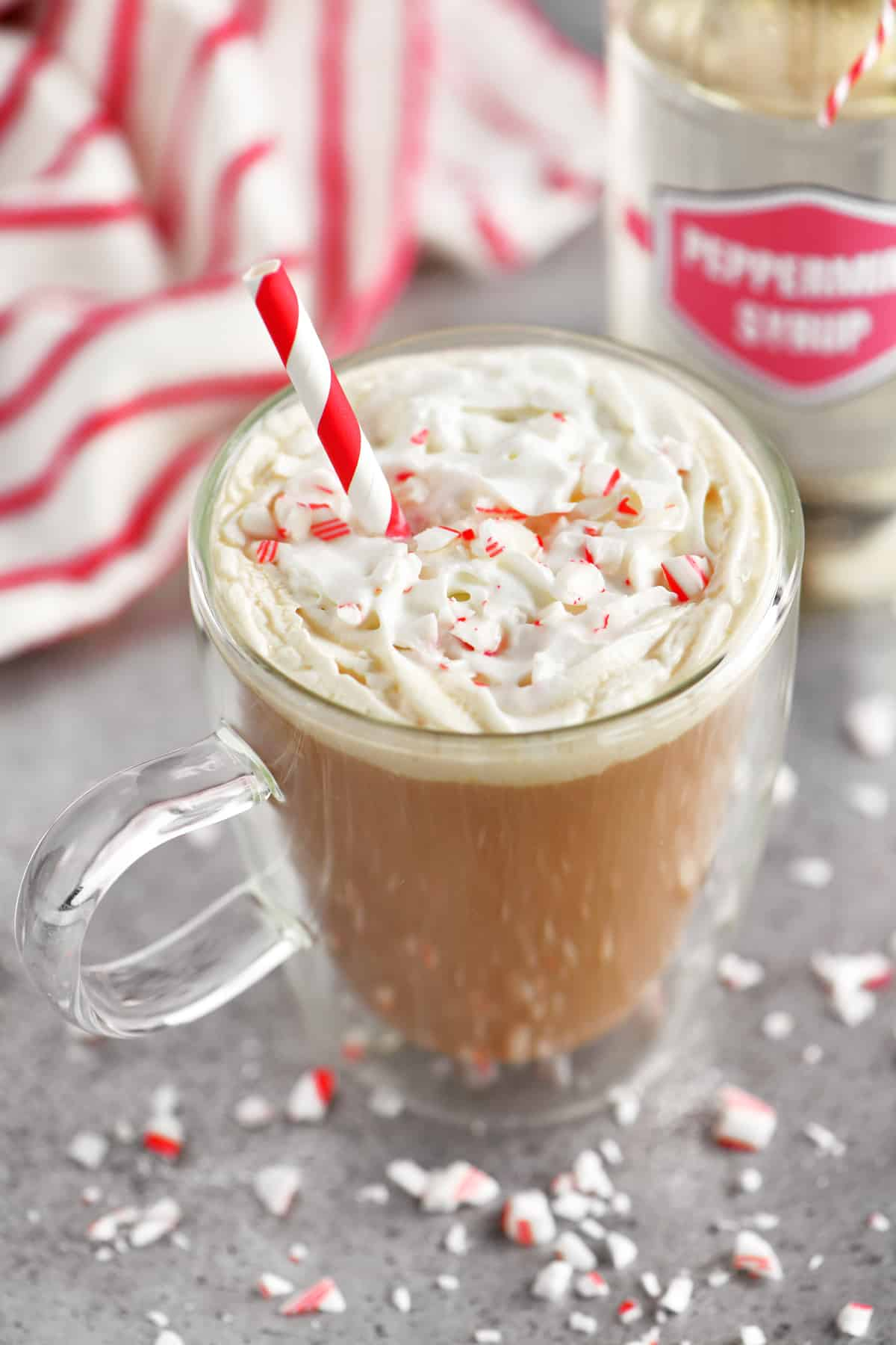 a topdown photo of a peppermint mocha whipped coffee drink