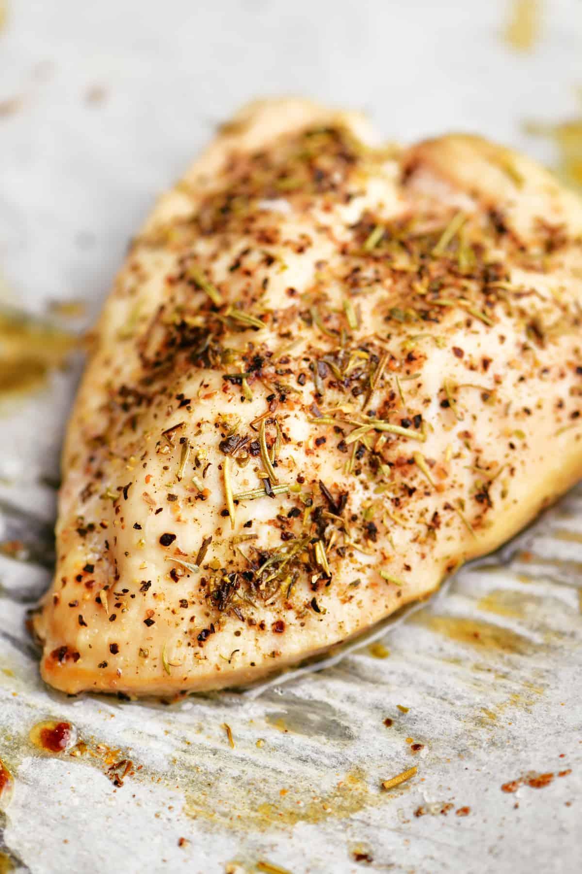 a seasoned piece of chicken