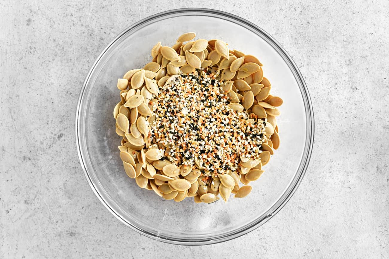 add everything bagel seasoning to the bowl