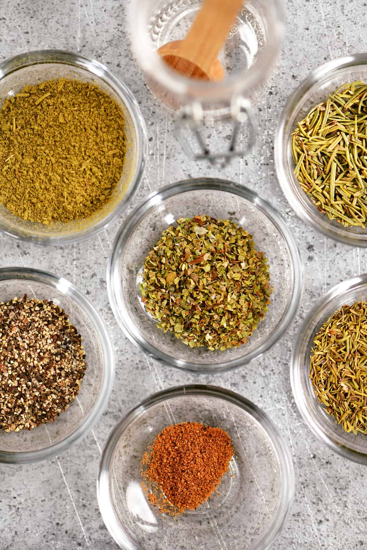 a topdown view of the individual spices