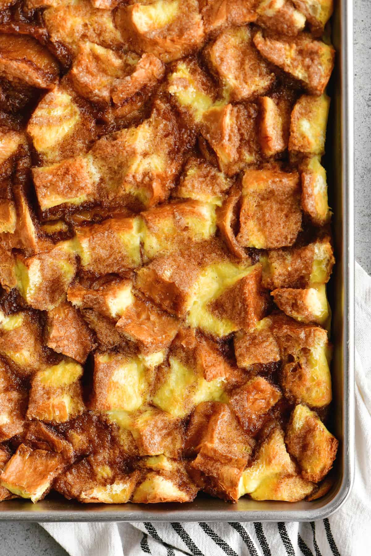 a topdown photo of the french toast casserole in a pan