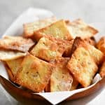 two-ingredient dough crackers in a bowl and ready to enjoy