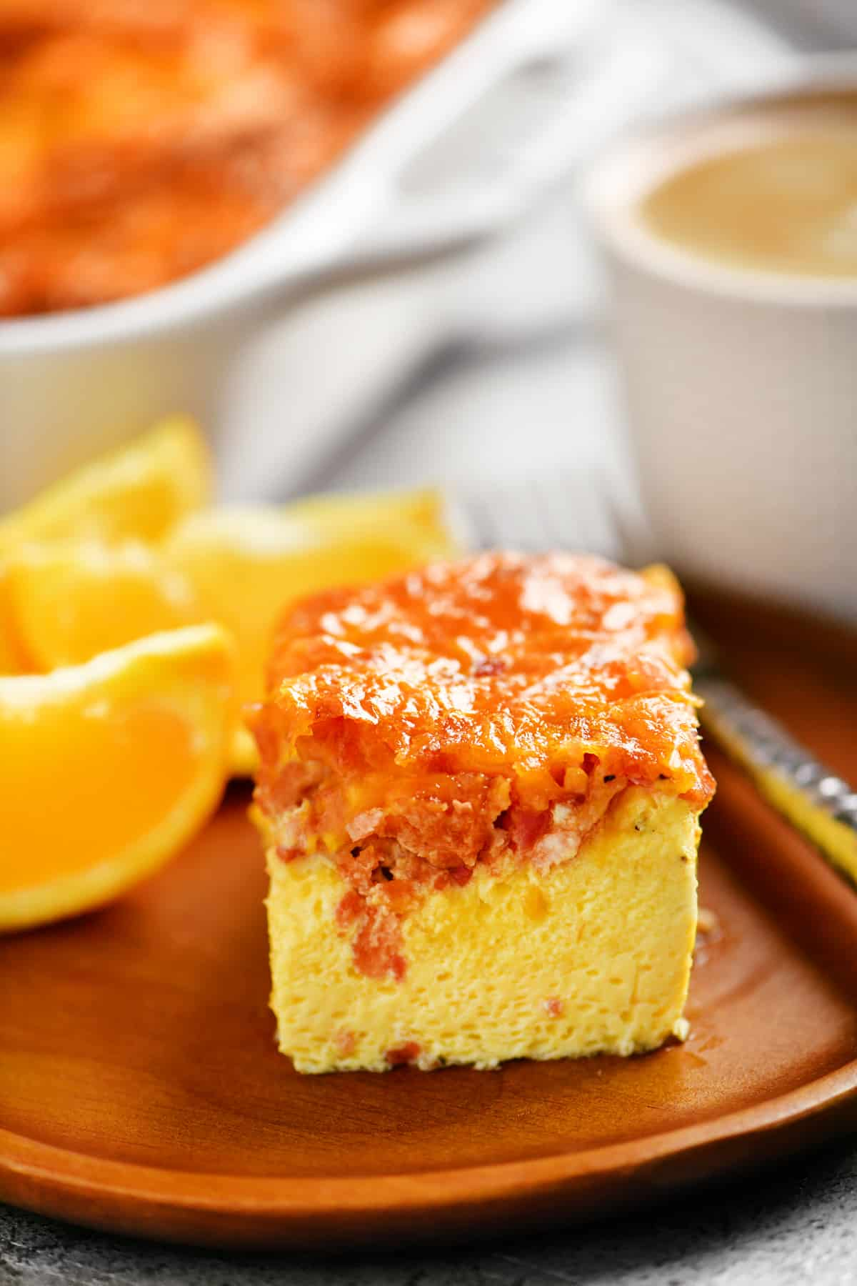 a delicious serving of egg bake with bacon and cheese