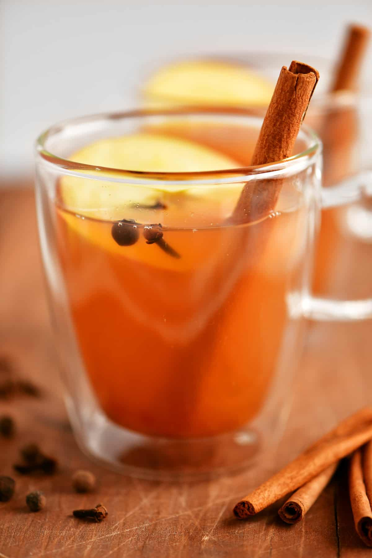 glass mug filled with mulled cider and a cinnamon stick