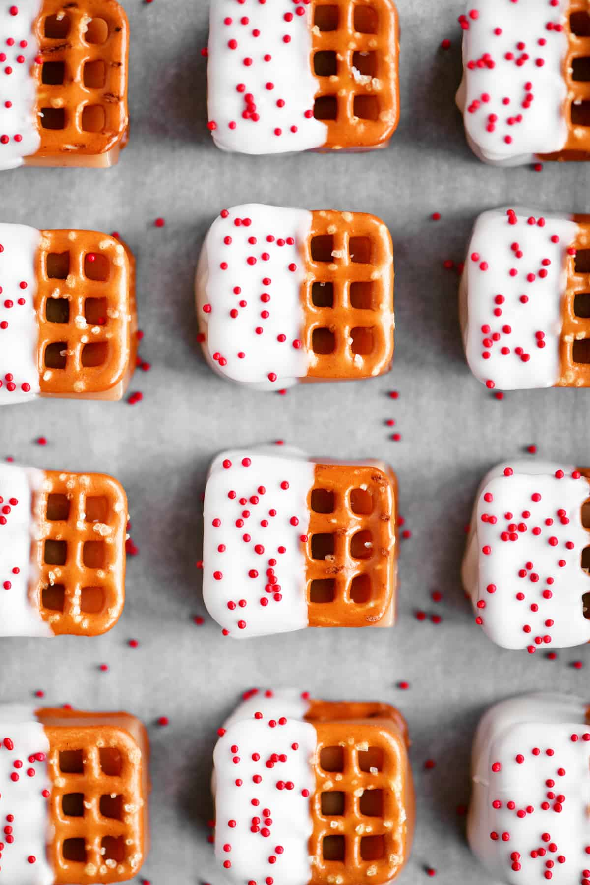 a top down view of the pretzel bites with red sprinkles