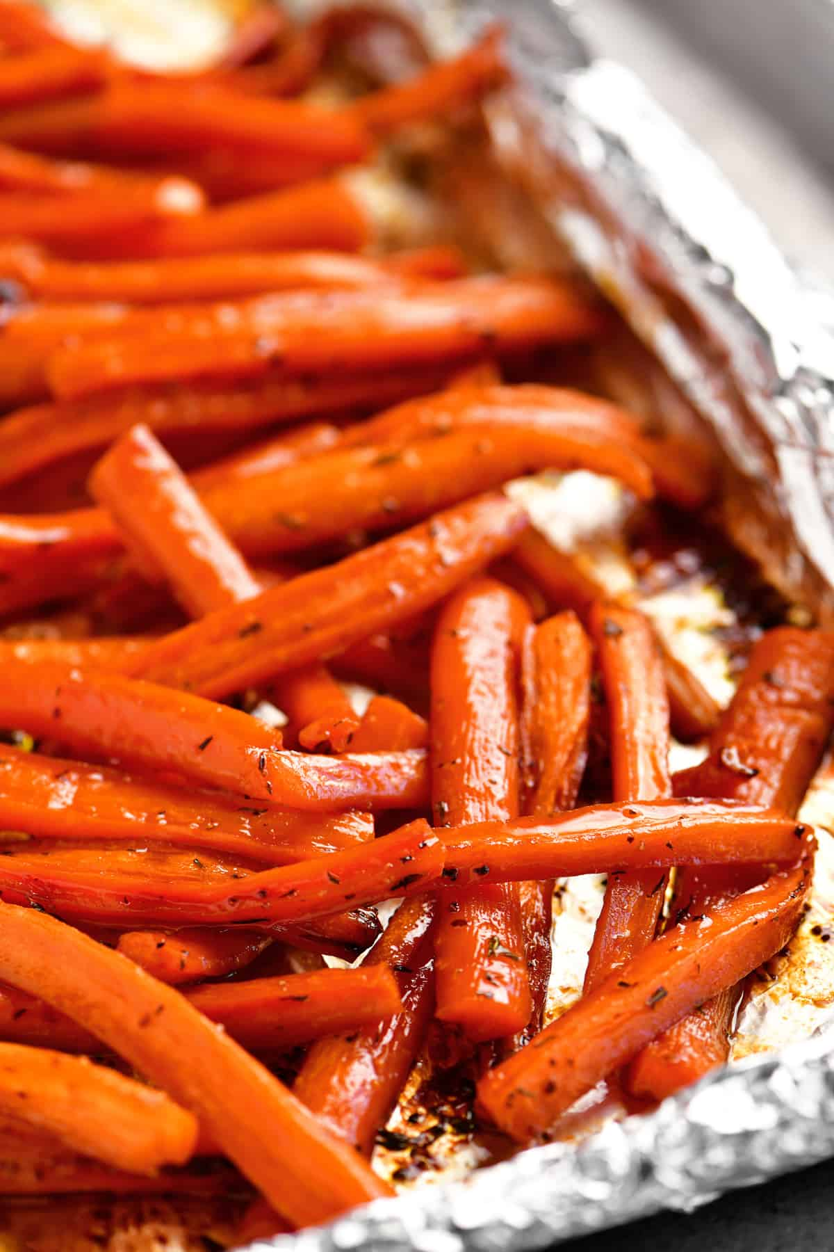 a close-up of the carrots in the pan after cooking