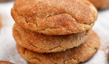 golden snickerdoodles cookies in a stack