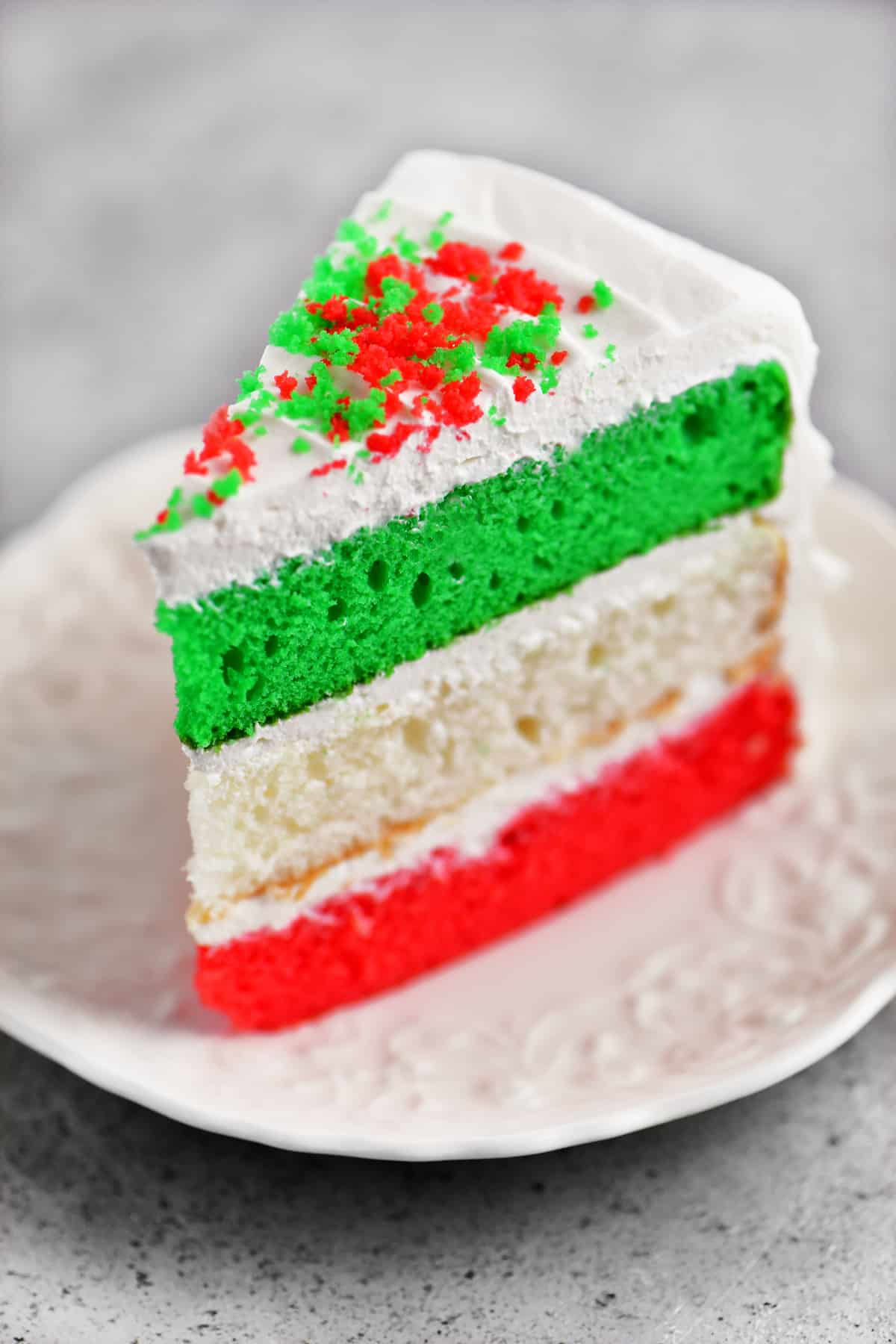 a piece of Christmas cake on a plate