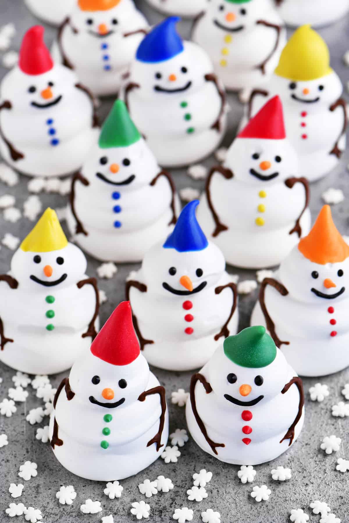 a topdown photo of the little meringue snowman cookies