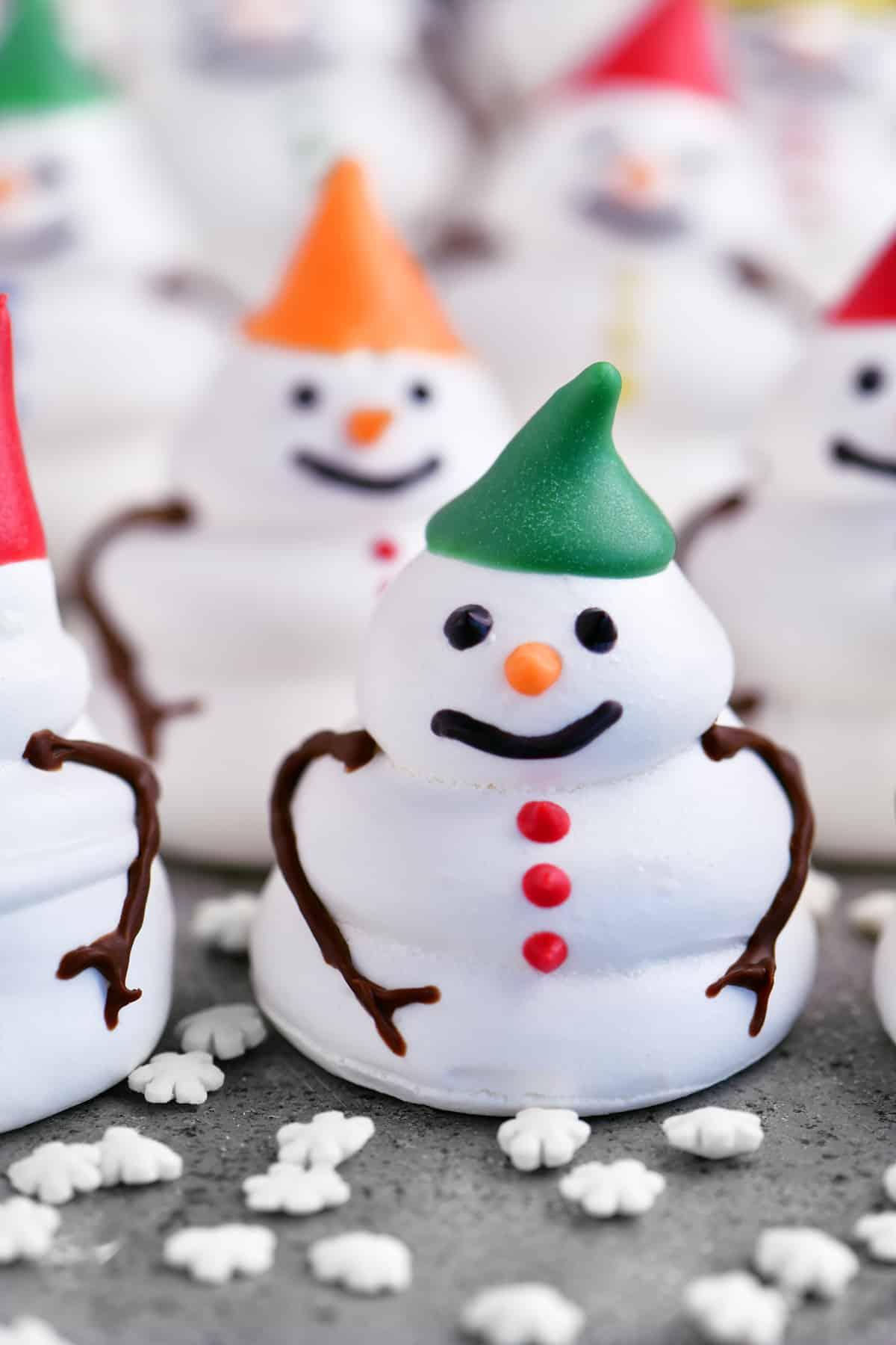 a close-up of a meringue snowman