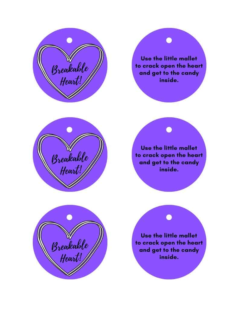 breakable chocolate hearts labels