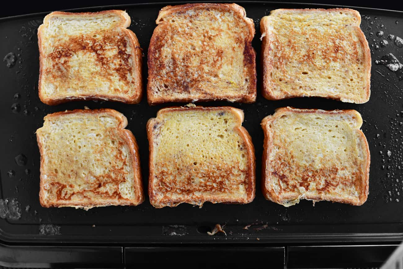 french toast slices on a skillet