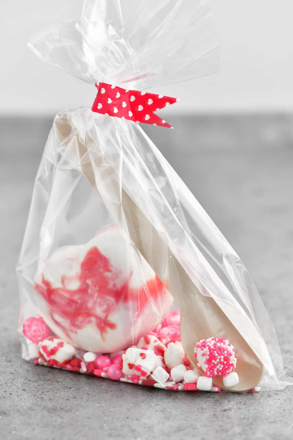 a hot chocolate bomb valentines gift bag