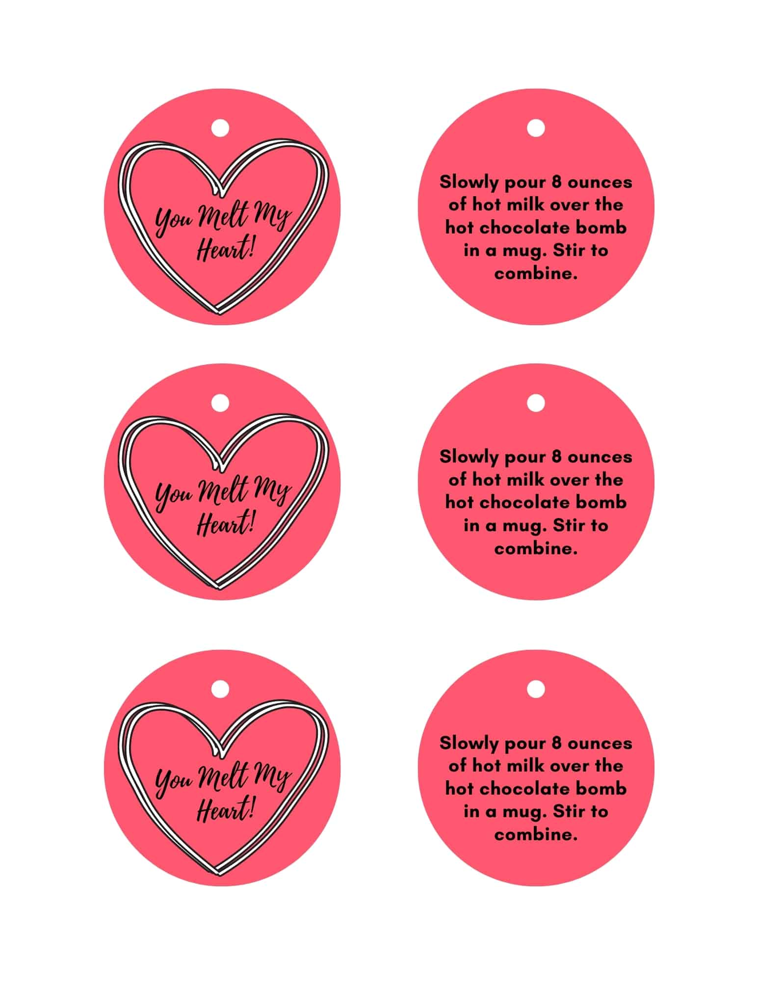 you melt my heart hot chocolate bombs labels