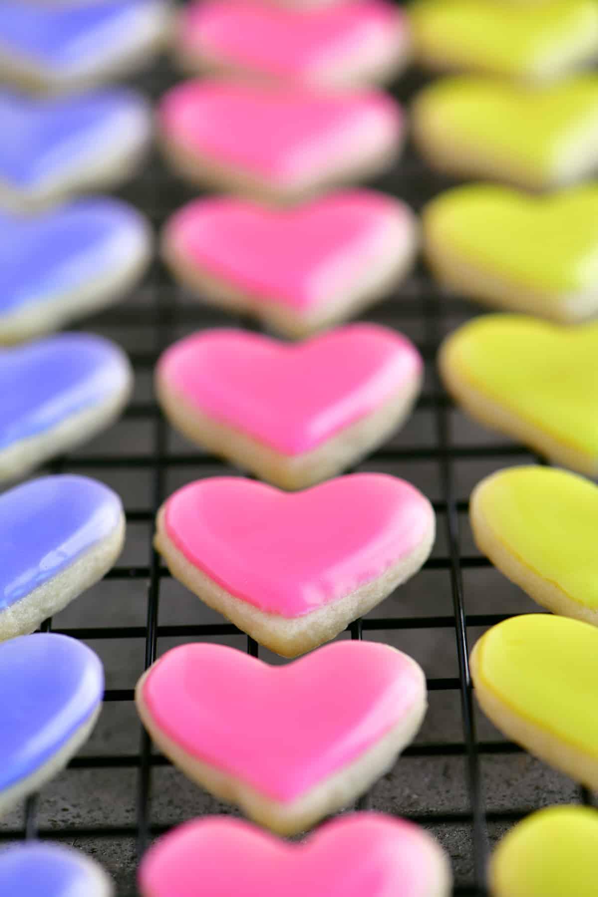 close up of mini pink sugar cookies