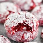 bite from a red velvet cookie