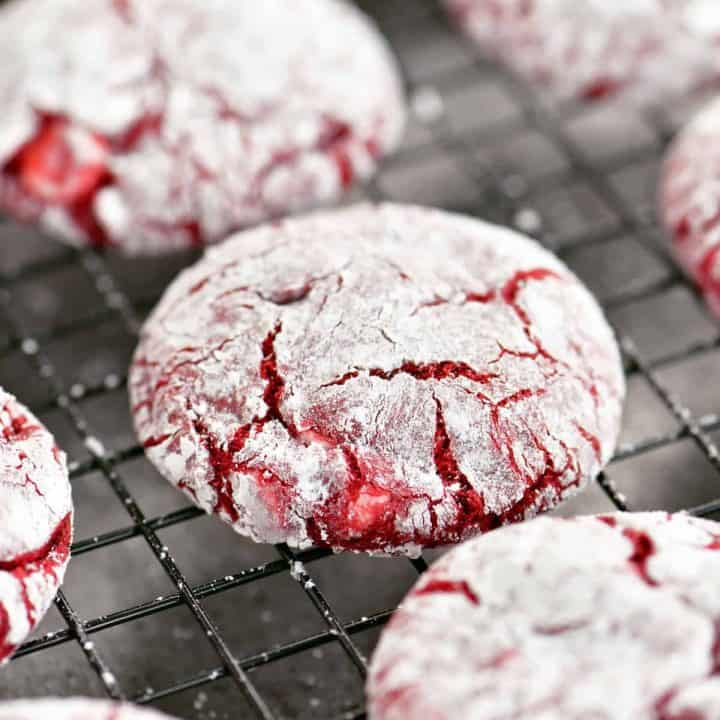 cake mix red velvet cookies cooling on a black wire rack