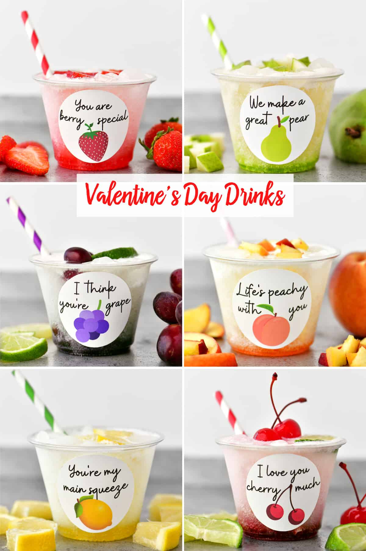 collage of valentine's day drinks
