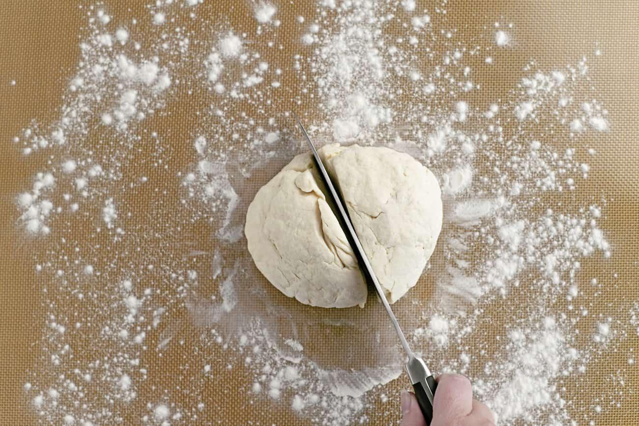 slice dough in half