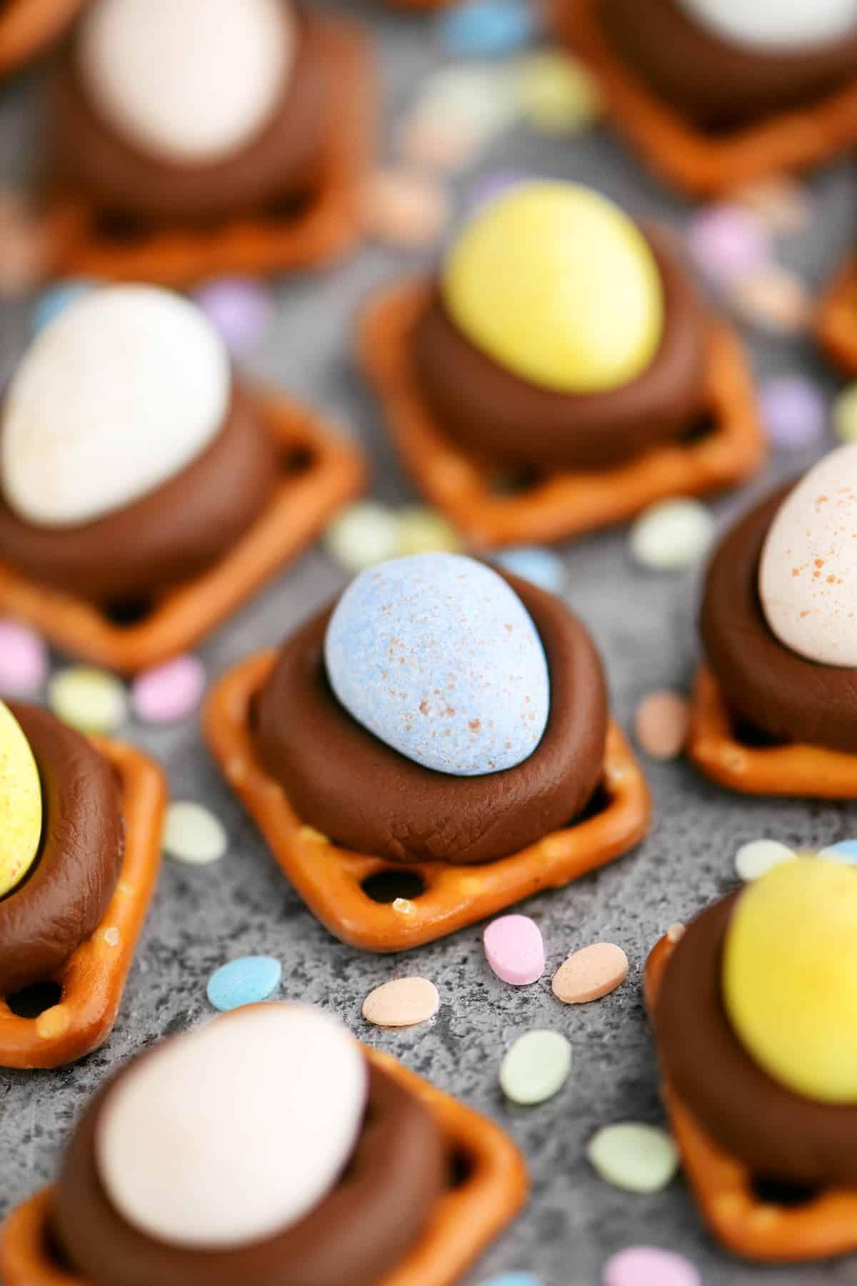 candy sprinkles and Cadbury Mini-Egg Pretzel Kisses