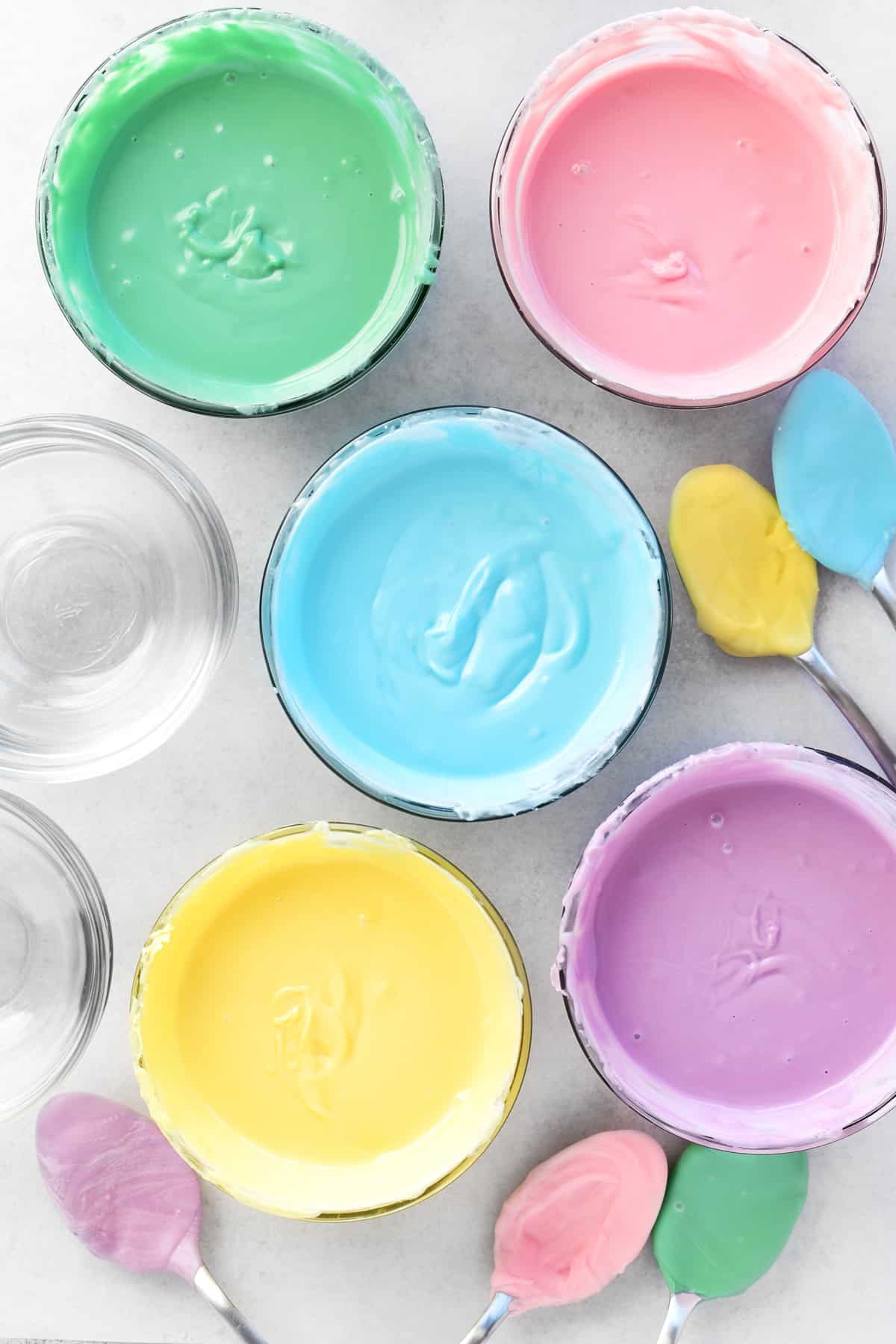 bowls of colorful melted candy