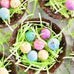 bright, cheery pretzel nugget eggs in a chocolate nest