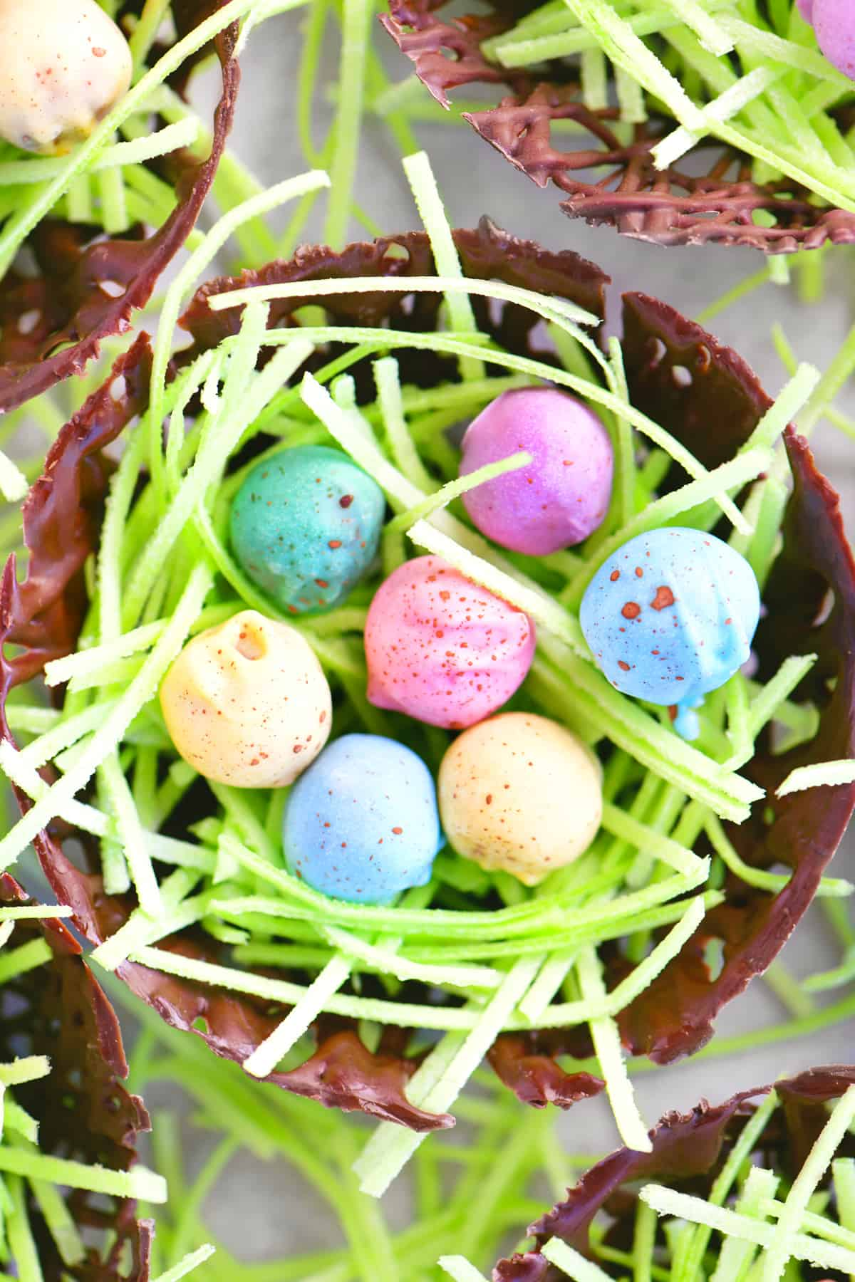 a chocolate nest with grass and eggs inside