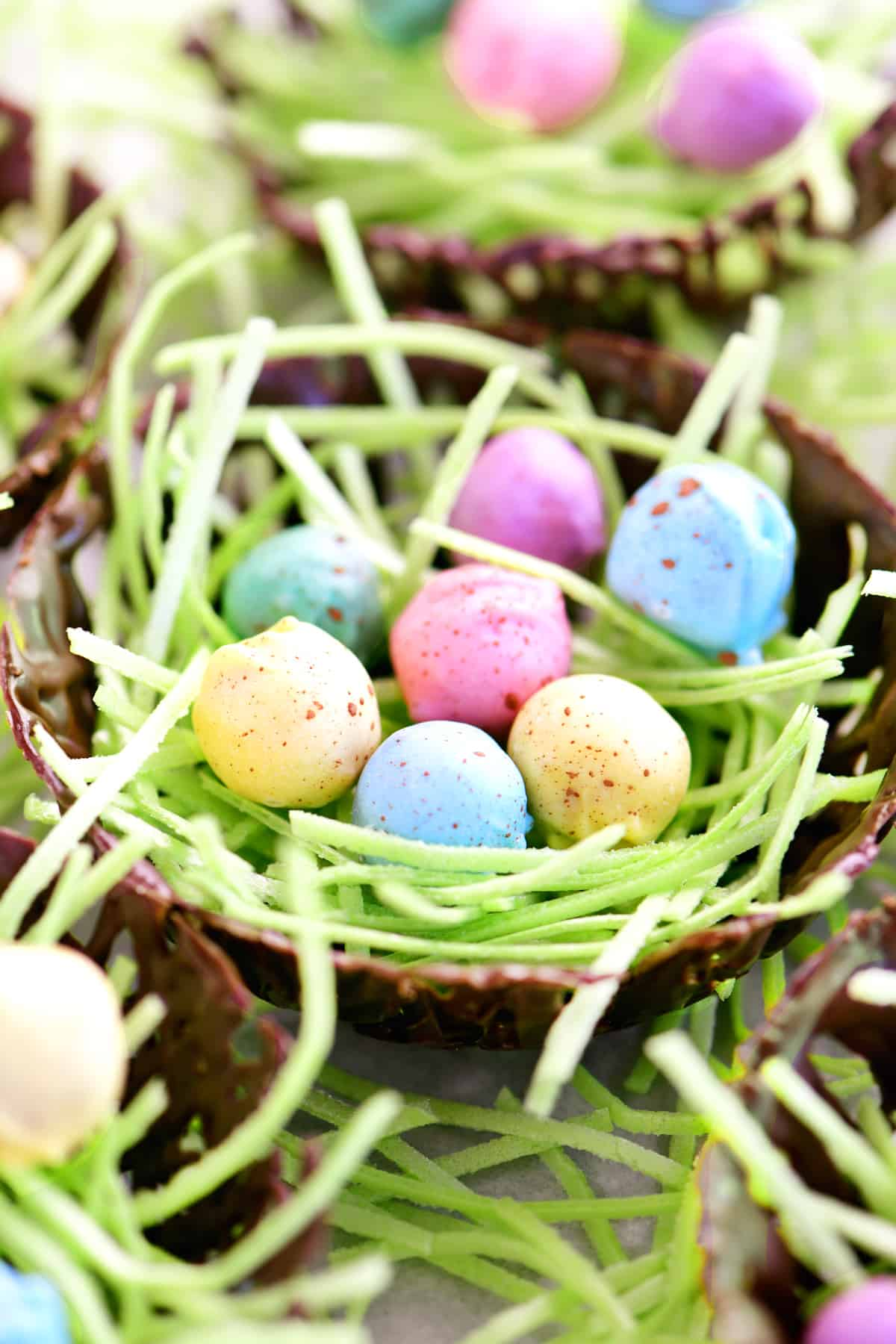 chocolate easter nests with bright speckled pretzel eggs inside