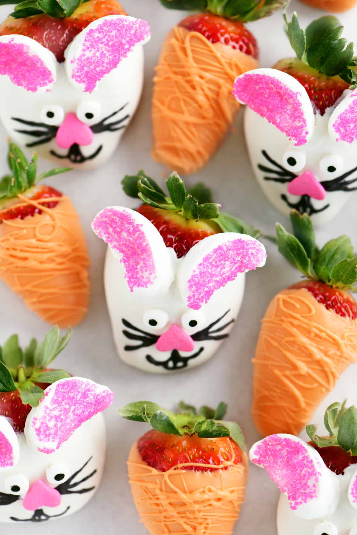 easter bunny strawberries and dipped carrot strawberries