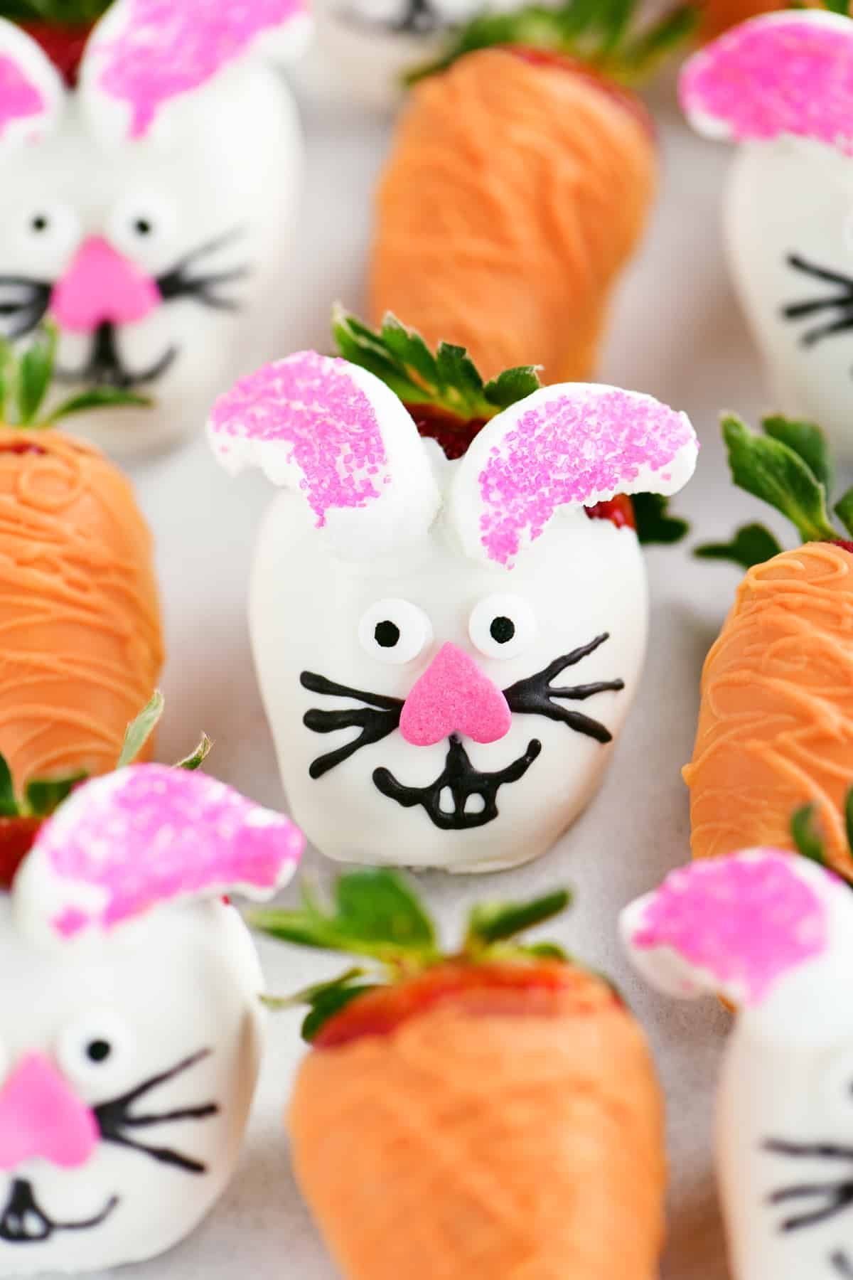 easter bunny strawberry close up