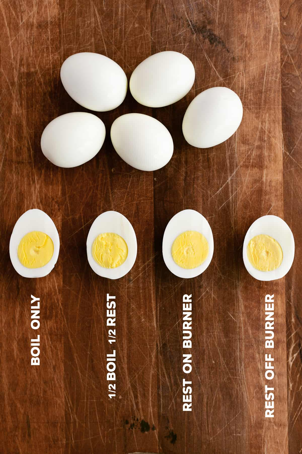 eggs and halves on wood board with writing